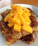 french toast with chopped mango