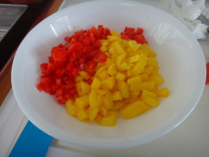 diced pepper and mango