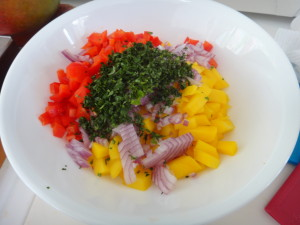 mango, onion, peppers, cilantro